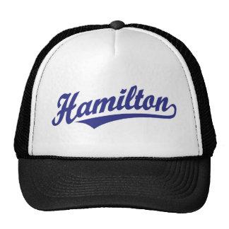 Logotipo de la escritura de Hamilton en azul Gorros