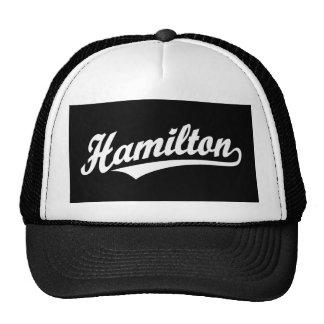 Logotipo de la escritura de Hamilton en blanco Gorro De Camionero