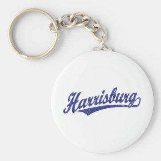 Logotipo de la escritura de Harrisburg en el azul  Llavero Redondo Tipo Pin
