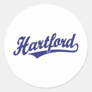 Logotipo de la escritura de Hartford en azul Pegatinas Redondas