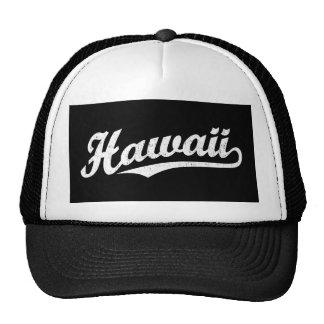 Logotipo de la escritura de Hawaii en el blanco ap Gorras