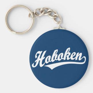 Logotipo de la escritura de Hoboken en blanco Llavero Redondo Tipo Pin