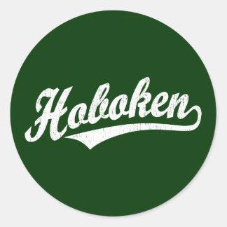 Logotipo de la escritura de Hoboken en el blanco Pegatina Redonda