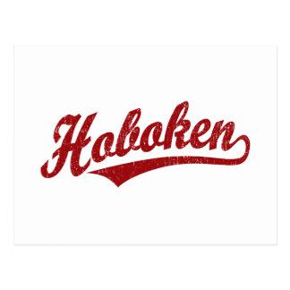 Logotipo de la escritura de Hoboken en el rojo ape Postal