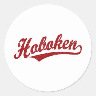 Logotipo de la escritura de Hoboken en el rojo Pegatina Redonda