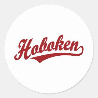 Logotipo de la escritura de Hoboken en rojo Pegatina Redonda