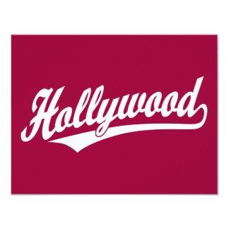 """Logotipo de la escritura de Hollywood en azul en Invitación 4.25"""" X 5.5"""""""