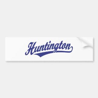 Logotipo de la escritura de Huntington en azul Etiqueta De Parachoque