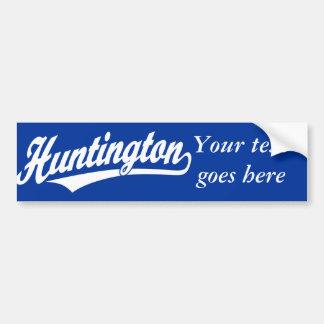 Logotipo de la escritura de Huntington en blanco Pegatina De Parachoque