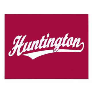 """Logotipo de la escritura de Huntington en blanco Invitación 4.25"""" X 5.5"""""""