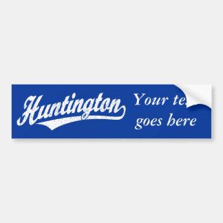 Logotipo de la escritura de Huntington en el blanc Etiqueta De Parachoque