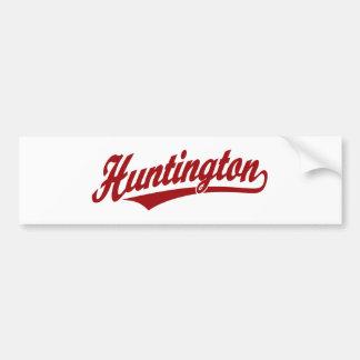 Logotipo de la escritura de Huntington en rojo Etiqueta De Parachoque