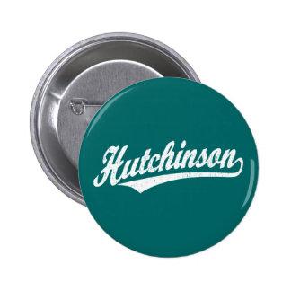 Logotipo de la escritura de Hutchinson en el blanc Pin