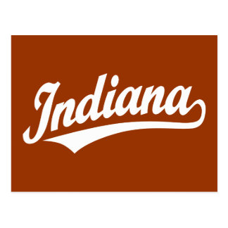 Logotipo de la escritura de Indiana en blanco Tarjetas Postales