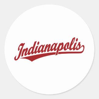 Logotipo de la escritura de Indianapolis en rojo Pegatina Redonda