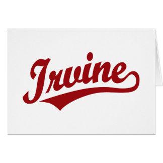 Logotipo de la escritura de Irvine en rojo Tarjeta De Felicitación