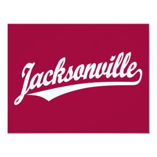 Logotipo de la escritura de Jacksonville en blanco Invitación 10,8 X 13,9 Cm