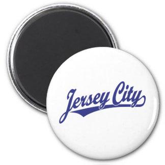 Logotipo de la escritura de Jersey City en azul Imanes De Nevera
