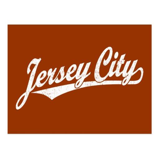 Logotipo de la escritura de Jersey City en el blan Tarjetas Postales