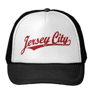 Logotipo de la escritura de Jersey City en rojo Gorros Bordados