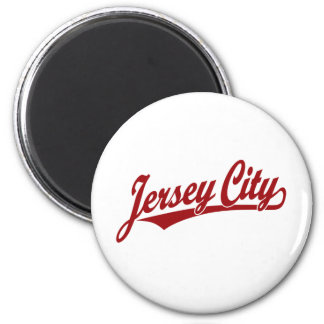Logotipo de la escritura de Jersey City en rojo Imanes Para Frigoríficos