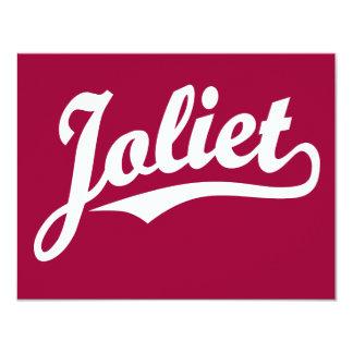 Logotipo de la escritura de Joliet en blanco Invitación 10,8 X 13,9 Cm