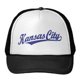 Logotipo de la escritura de Kansas City en azul Gorros