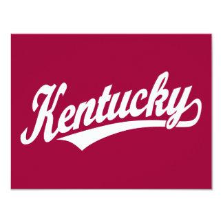 Logotipo de la escritura de Kentucky en blanco Invitación 10,8 X 13,9 Cm