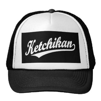 Logotipo de la escritura de Ketchikan en blanco Gorra