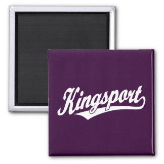 Logotipo de la escritura de Kingsport en blanco Imán Cuadrado
