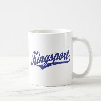 Logotipo de la escritura de Kingsport en el azul Taza Clásica
