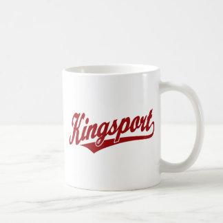 Logotipo de la escritura de Kingsport en rojo Taza Clásica