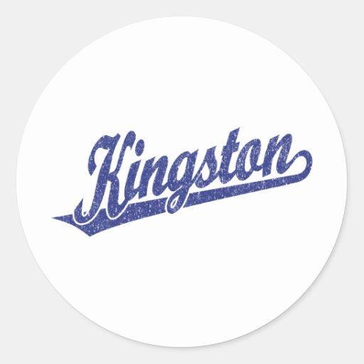 Logotipo de la escritura de Kingston en azul Pegatina Redonda