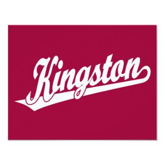 Logotipo de la escritura de Kingston en blanco Invitación 10,8 X 13,9 Cm