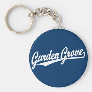 Logotipo de la escritura de la arboleda del jardín llavero redondo tipo pin