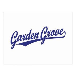 Logotipo de la escritura de la arboleda del jardín postales