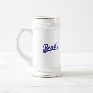 Logotipo de la escritura de la curva en azul jarra de cerveza