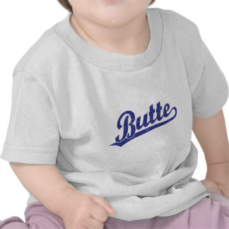 Logotipo de la escritura de la mota en azul camisetas