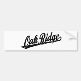 Logotipo de la escritura de la Oak Ridge en negro Pegatina De Parachoque
