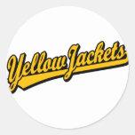 Logotipo de la escritura de las chaquetas amarilla etiqueta