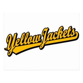 Logotipo de la escritura de las chaquetas amarilla tarjeta postal