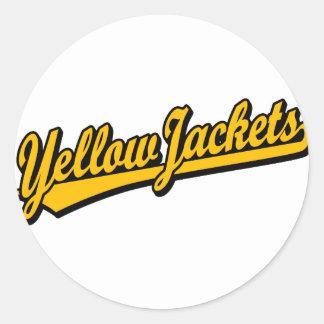 Logotipo de la escritura de las chaquetas pegatina redonda