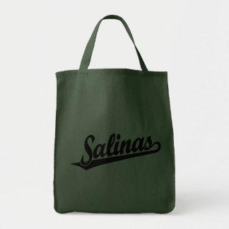 Logotipo de la escritura de las salinas en negro bolsas lienzo