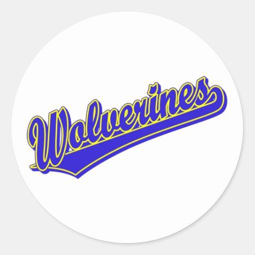 Logotipo de la escritura de los carcayúes en azul pegatinas redondas