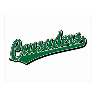 Logotipo de la escritura de los cruzados en verde tarjetas postales