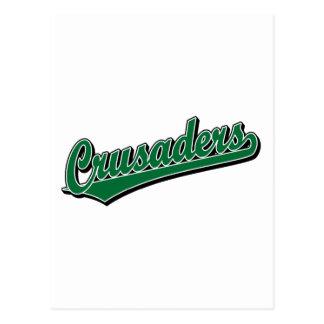 Logotipo de la escritura de los cruzados en verde postales
