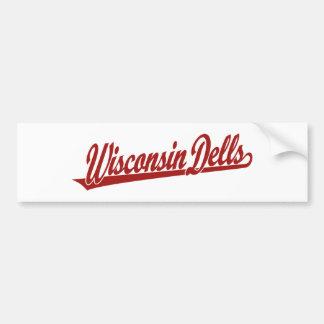 Logotipo de la escritura de los Dells de Wisconsin Etiqueta De Parachoque