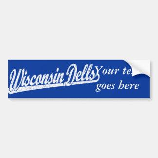 Logotipo de la escritura de los Dells de Wisconsin Pegatina De Parachoque