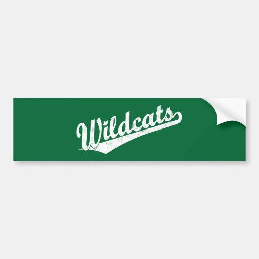 Logotipo de la escritura de los gatos monteses en  etiqueta de parachoque