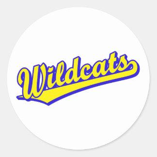 Logotipo de la escritura de los gatos monteses en pegatina redonda